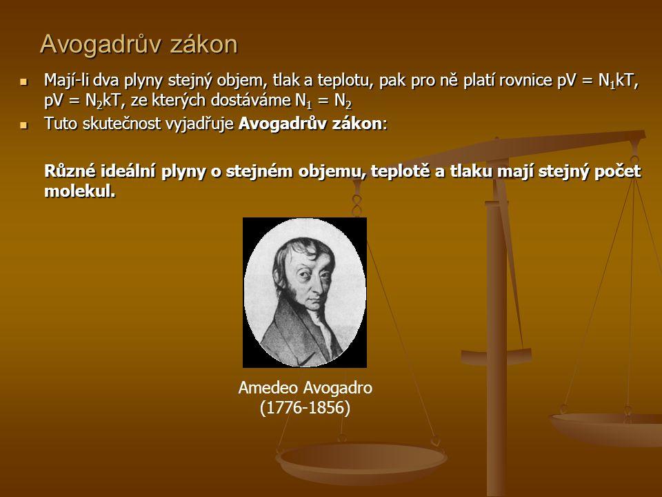 Avogadrův zákon  Mají-li dva plyny stejný objem, tlak a teplotu, pak pro ně platí rovnice pV = N 1 kT, pV = N 2 kT, ze kterých dostáváme N 1 = N 2 