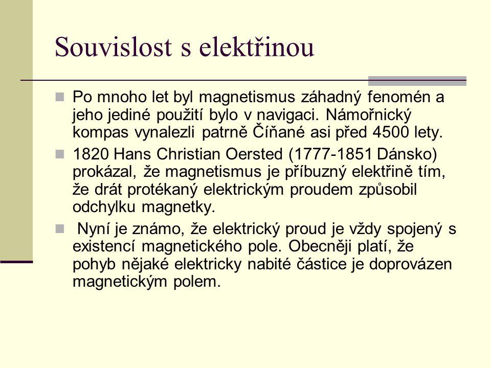 Souvislost s elektřinou  Po mnoho let byl magnetismus záhadný fenomén a jeho jediné použití bylo v navigaci. Námořnický kompas vynalezli patrně Číňan