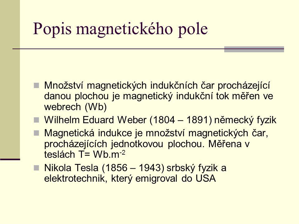 Popis magnetického pole  Množství magnetických indukčních čar procházející danou plochou je magnetický indukční tok měřen ve webrech (Wb)  Wilhelm E