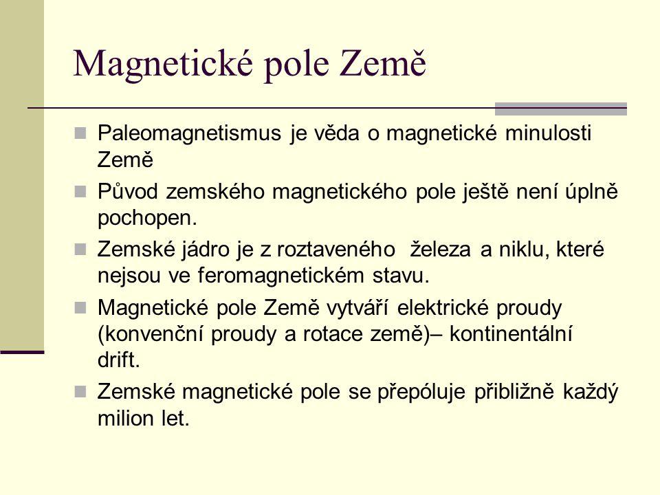 Magnetické pole Země  Paleomagnetismus je věda o magnetické minulosti Země  Původ zemského magnetického pole ještě není úplně pochopen.  Zemské jád