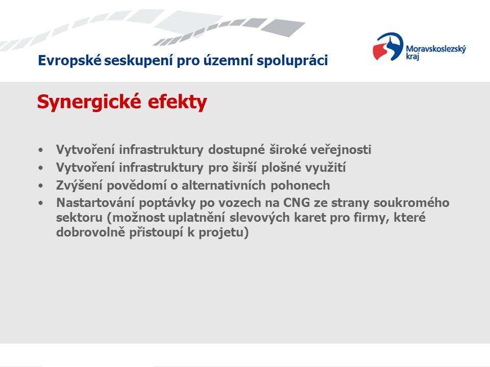Evropské seskupení pro územní spolupráci Synergické efekty •Vytvoření infrastruktury dostupné široké veřejnosti •Vytvoření infrastruktury pro širší plošné využití •Zvýšení povědomí o alternativních pohonech •Nastartování poptávky po vozech na CNG ze strany soukromého sektoru (možnost uplatnění slevových karet pro firmy, které dobrovolně přistoupí k projetu)