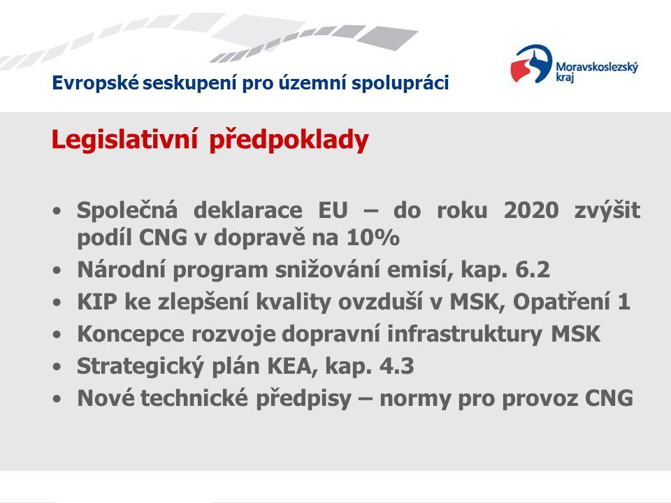 Evropské seskupení pro územní spolupráci Legislativní předpoklady •Společná deklarace EU – do roku 2020 zvýšit podíl CNG v dopravě na 10% •Národní program snižování emisí, kap.