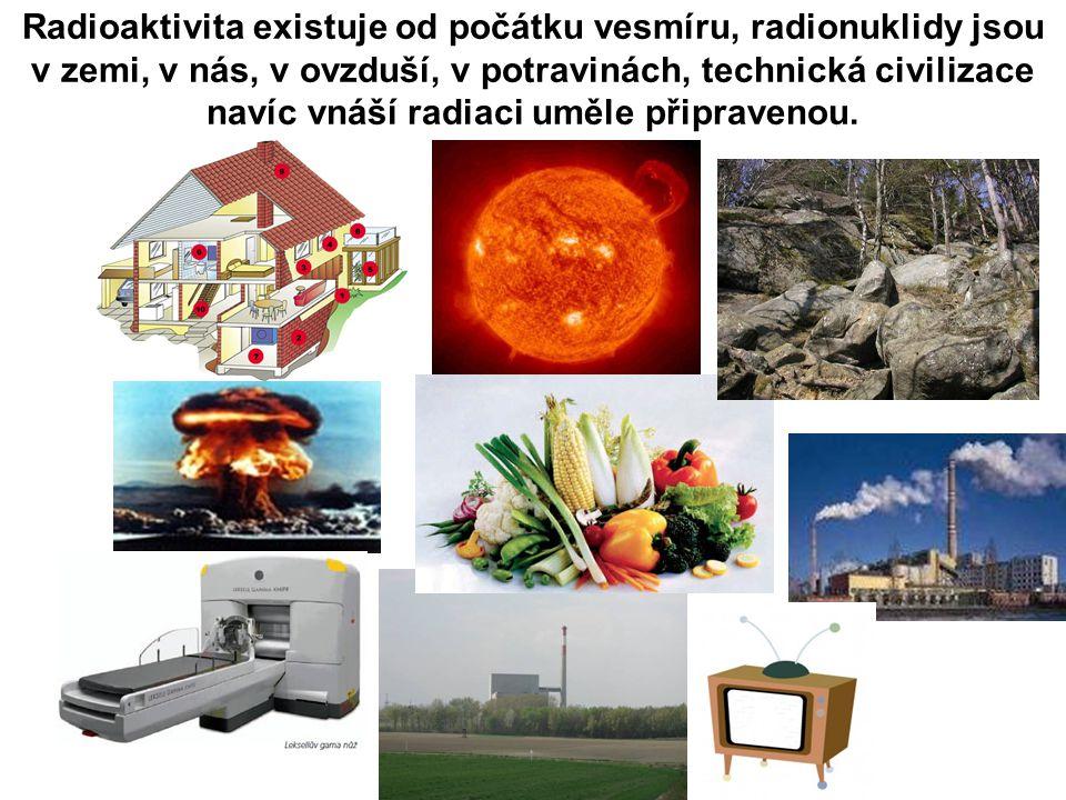 Prapůvodní (primordiální) radionuklidy nuklidsymbolpoločasPřírodní aktivita Uran 235 235 U7,04 x 10 8 let0,72 % ze všeho přírodního uranu Uran 238 238 U4,47 x 10 9 let99,3 % ze všeho přírodního uranu, v běžné hornině 0,5 až 4,7 ppm Thorium 232 232 Th1,41 x 10 10 let1,6 až 20 ppm v běžné hornině, průměrně v zemské kůře 10,7 ppm Radium 226 226 Ra1,6 x 10 3 let16 Bq/kg ve vápenci a 48 Bq/kg ve vyvřelých horninách Radon 222 222 Rn3,82 dnePrůměrná koncentrace ve vzduchu v USA 0,6 až 28 Bq/m 3 Draslík 40 40 K1,28 x 10 9 let0,037 až 1,1 Bq/g v půdě Zdroj: FJFI