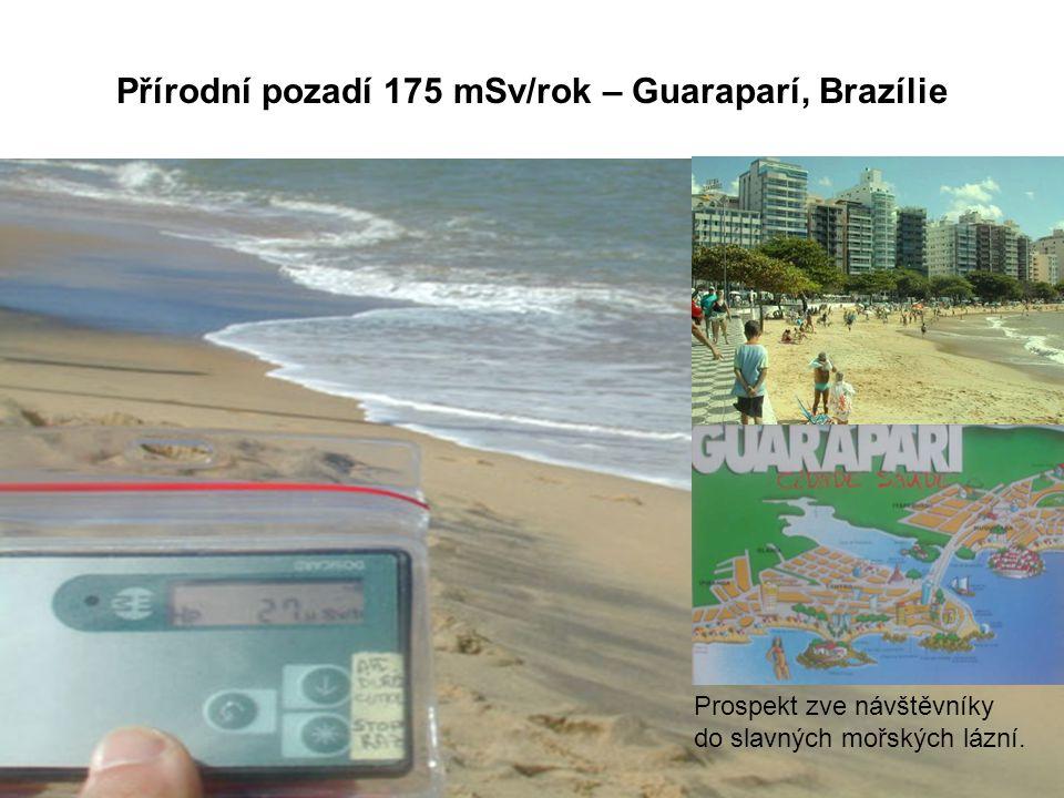Přírodní pozadí 175 mSv/rok – Guaraparí, Brazílie Prospekt zve návštěvníky do slavných mořských lázní.