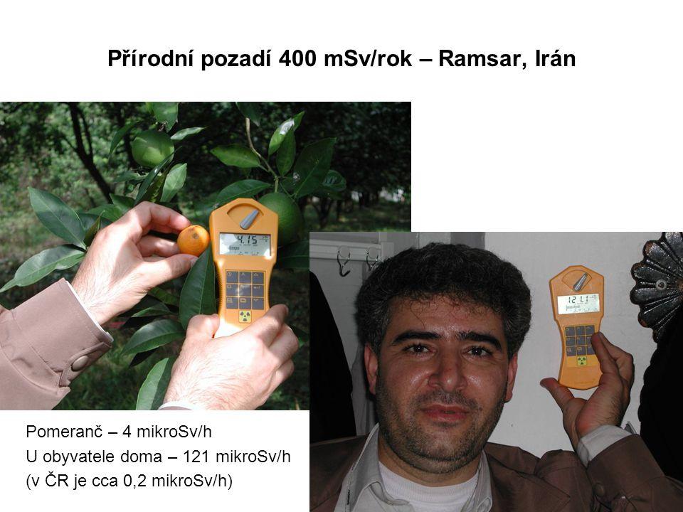 Přírodní pozadí 400 mSv/rok – Ramsar, Irán Pomeranč – 4 mikroSv/h U obyvatele doma – 121 mikroSv/h (v ČR je cca 0,2 mikroSv/h)