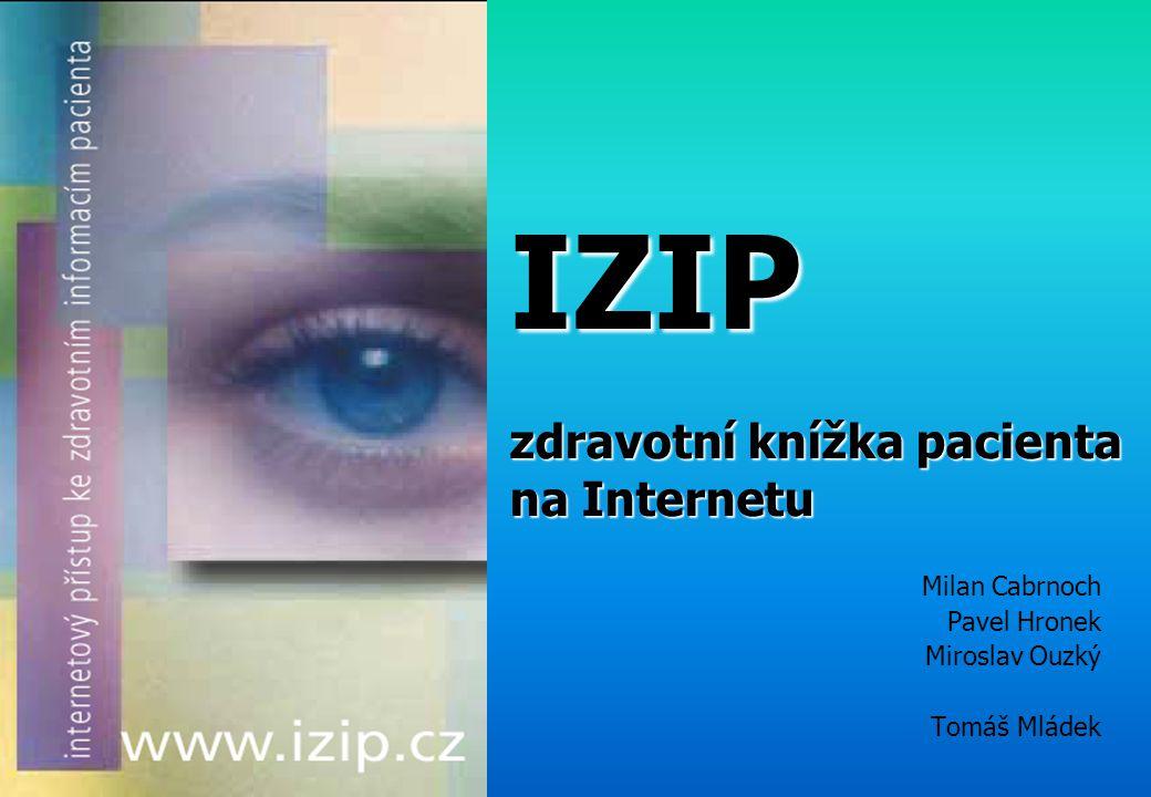 IZIP zdravotní knížka pacienta na Internetu Milan Cabrnoch Pavel Hronek Miroslav Ouzký Tomáš Mládek