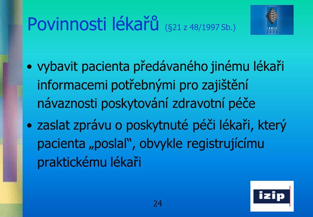 24 Povinnosti lékařů (§21 z 48/1997 Sb.) •vybavit pacienta předávaného jinému lékaři informacemi potřebnými pro zajištění návaznosti poskytování zdrav