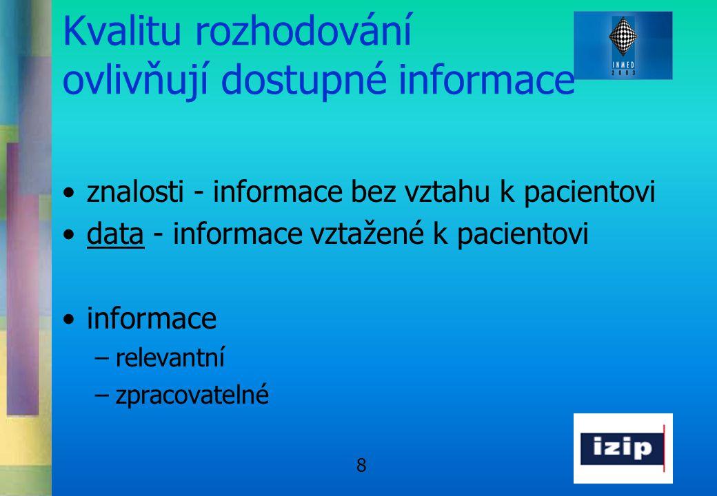 8 Kvalitu rozhodování ovlivňují dostupné informace •znalosti - informace bez vztahu k pacientovi •data - informace vztažené k pacientovi •informace –r