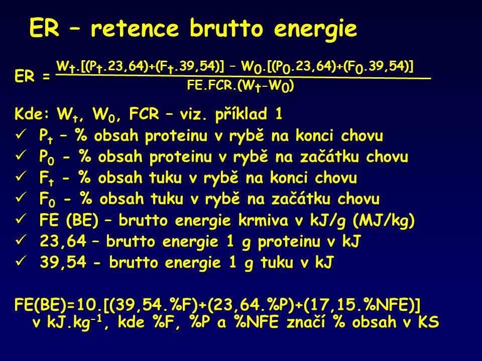 ER – retence brutto energie ER = W t.[(P t.23,64)+(F t.39,54)] – W 0.[(P 0.23,64)+(F 0.39,54)] FE.FCR.(W t -W 0 ) Kde: W t, W 0, FCR – viz. příklad 1
