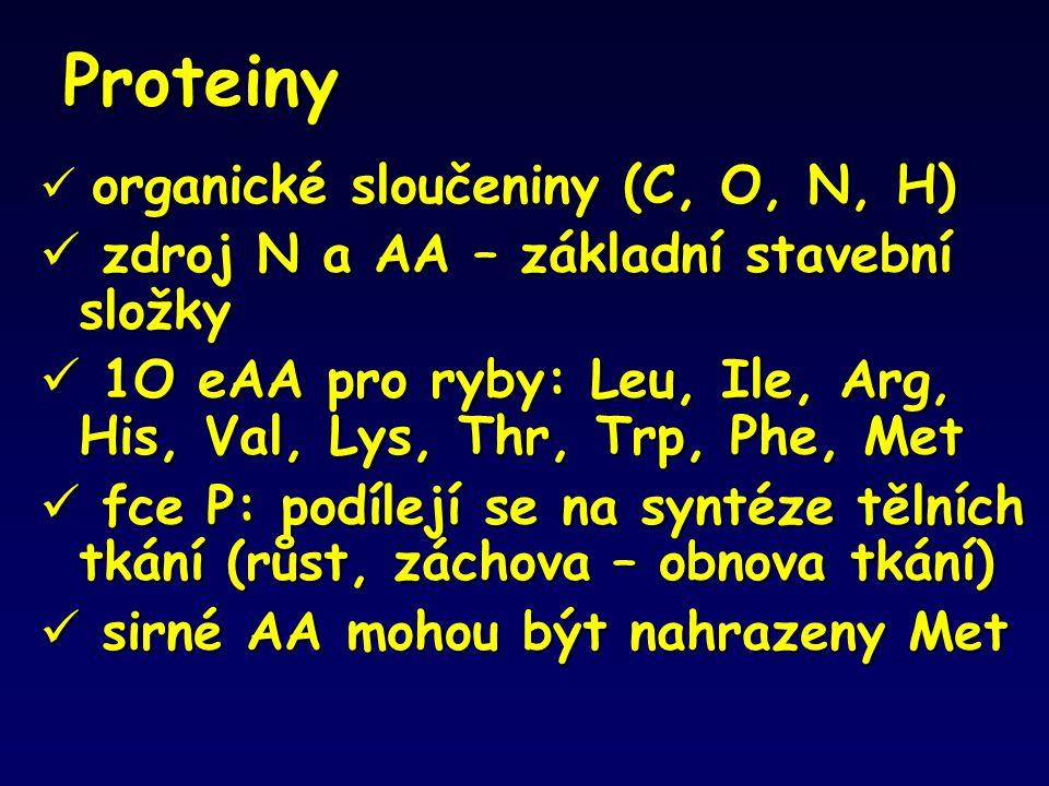 Proteiny organické sloučeniny (C, O, N, H)  organické sloučeniny (C, O, N, H)  zdroj N a AA – základní stavební složky  1O eAA pro ryby: Leu, Ile,
