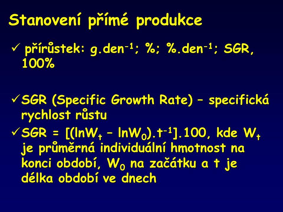 Stanovení přímé produkce přírůstek: g.den -1 ; %; %.den -1 ; SGR, 100%  přírůstek: g.den -1 ; %; %.den -1 ; SGR, 100%  SGR (Specific Growth Rate) –