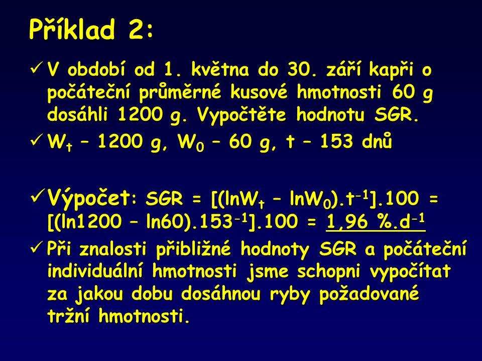 Příklad 2:  V období od 1. května do 30. září kapři o počáteční průměrné kusové hmotnosti 60 g dosáhli 1200 g. Vypočtěte hodnotu SGR.  W t – 1200 g,