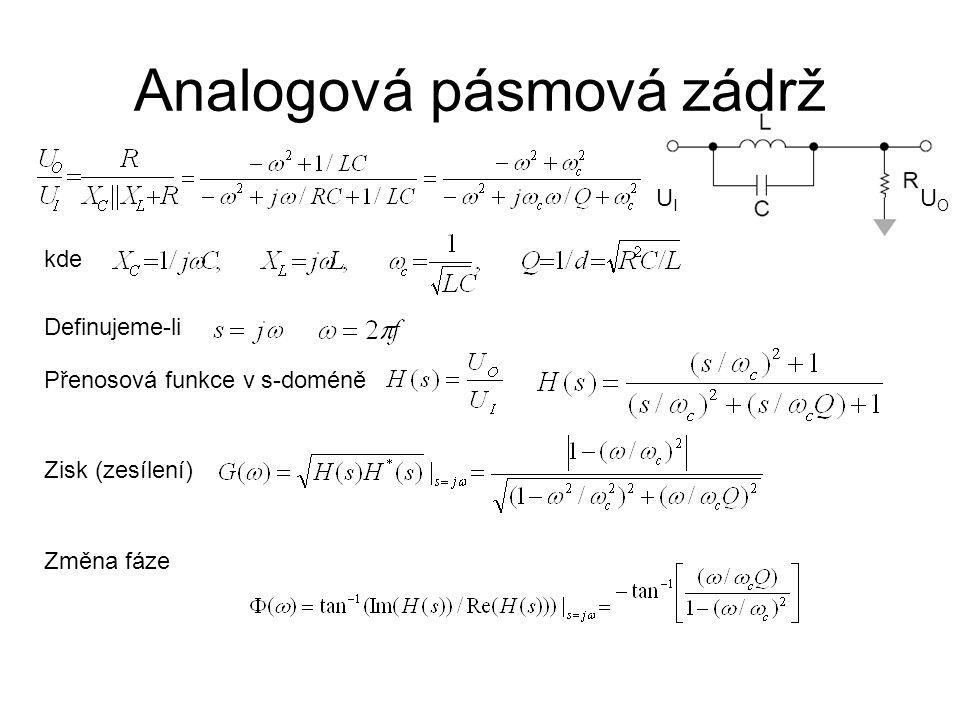 Analogová pásmová zádrž UIUI UOUO kde Definujeme-li Přenosová funkce v s-doméně Zisk (zesílení) Změna fáze