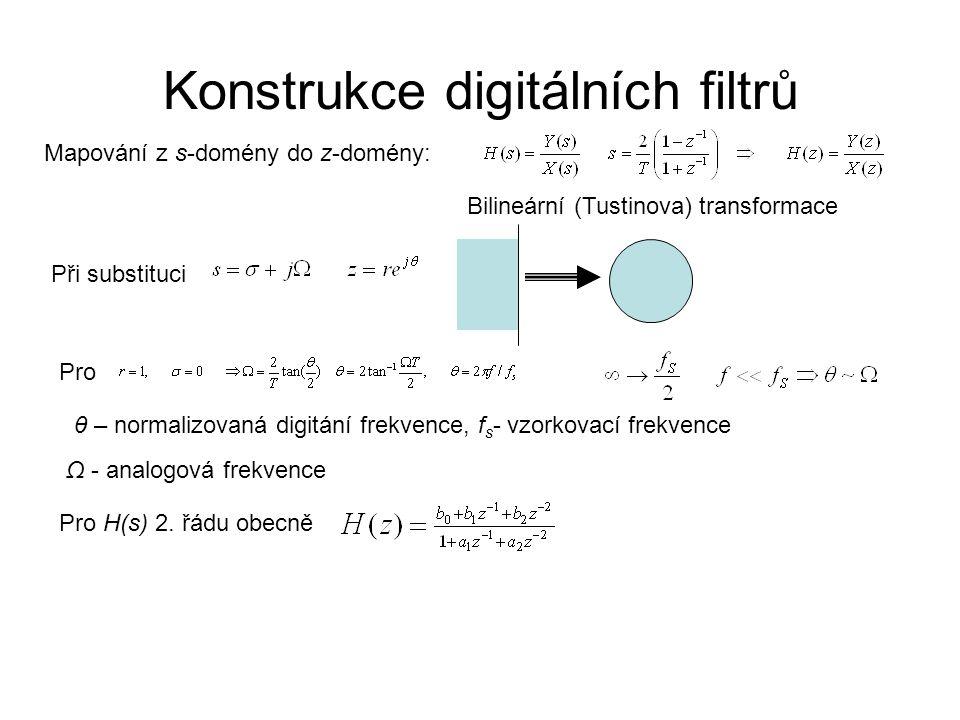 Konstrukce digitálních filtrů Mapování z s-domény do z-domény: Bilineární (Tustinova) transformace Při substituci Pro θ – normalizovaná digitání frekv