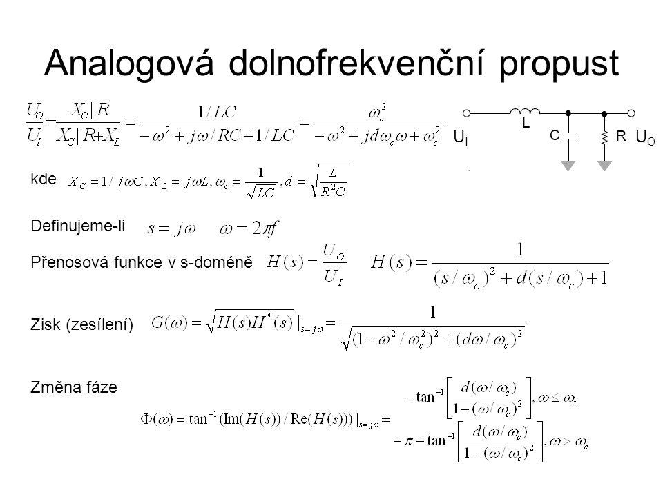 Analogová dolnofrekvenční propust UIUI UOUO kde Definujeme-li Přenosová funkce v s-doméně Zisk (zesílení) Změna fáze