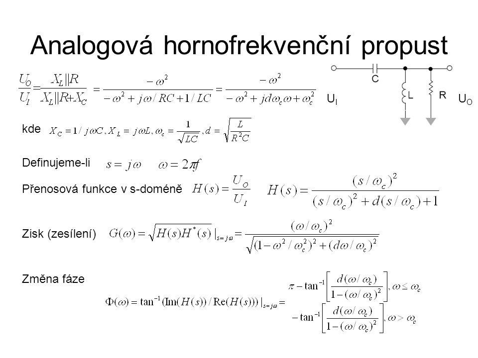 Analogová hornofrekvenční propust UIUI UOUO kde Definujeme-li Přenosová funkce v s-doméně Zisk (zesílení) Změna fáze