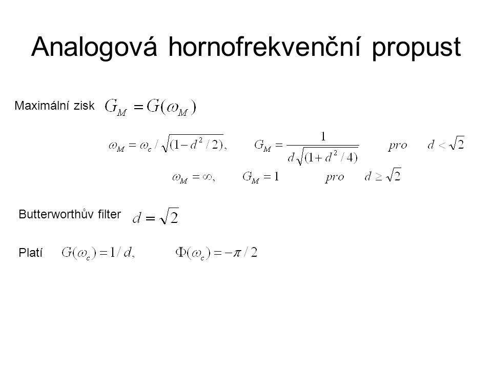 Analogová pásmová propust UIUI UOUO kde Definujeme-li Přenosová funkce v s-doméně Zisk (zesílení) Změna fáze