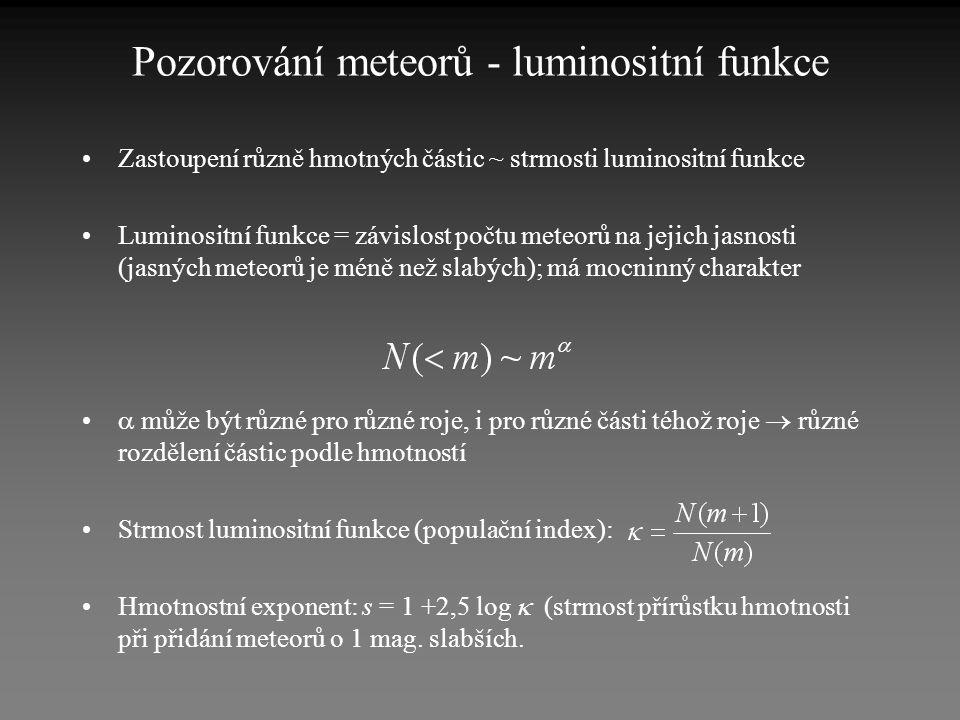 Pozorování meteorů - luminositní funkce •Zastoupení různě hmotných částic ~ strmosti luminositní funkce •Luminositní funkce = závislost počtu meteorů