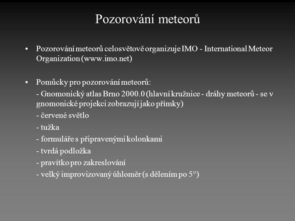 Pozorování meteorů •Pozorování meteorů celosvětově organizuje IMO - International Meteor Organization (www.imo.net) •Pomůcky pro pozorování meteorů: -