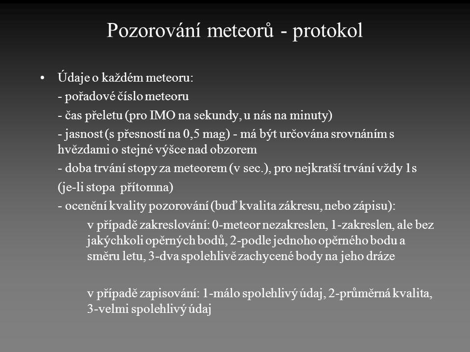 Pozorování meteorů - protokol •Údaje o každém meteoru: - pořadové číslo meteoru - čas přeletu (pro IMO na sekundy, u nás na minuty) - jasnost (s přesn