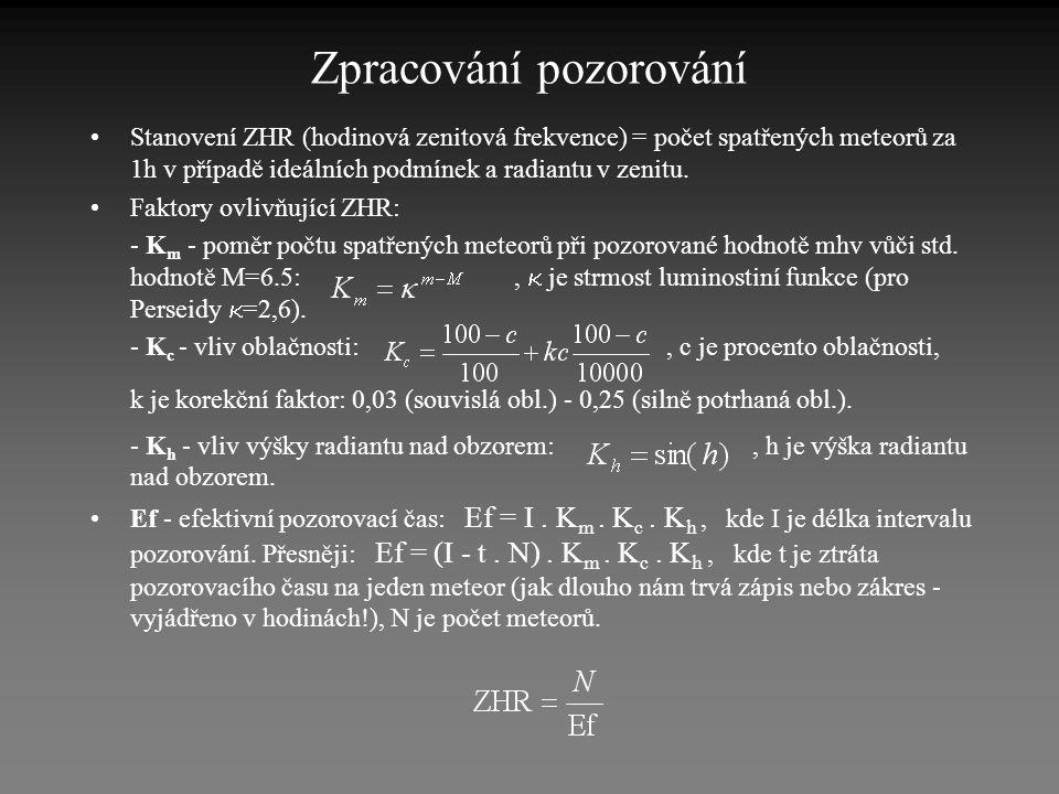 Zpracování pozorování •Stanovení ZHR (hodinová zenitová frekvence) = počet spatřených meteorů za 1h v případě ideálních podmínek a radiantu v zenitu.