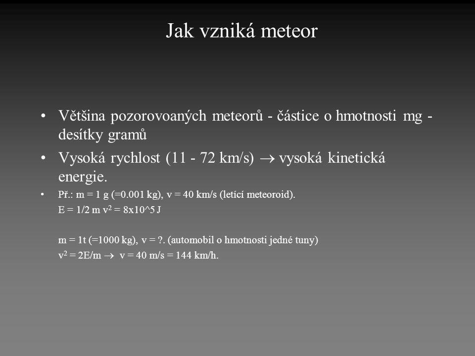 Jak vzniká meteor •Většina pozorovoaných meteorů - částice o hmotnosti mg - desítky gramů •Vysoká rychlost (11 - 72 km/s)  vysoká kinetická energie.
