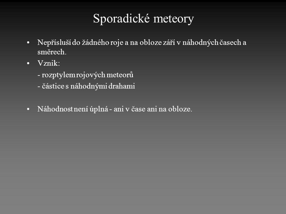 Sporadické meteory •Nepřísluší do žádného roje a na obloze září v náhodných časech a směrech. •Vznik: - rozptylem rojových meteorů - částice s náhodný