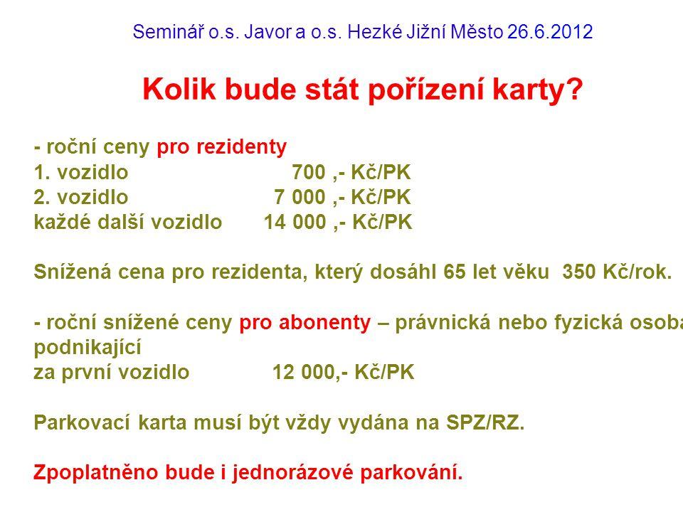 Seminář o.s.Javor a o.s. Hezké Jižní Město 26.6.2012 Kolik bude stát pořízení karty.