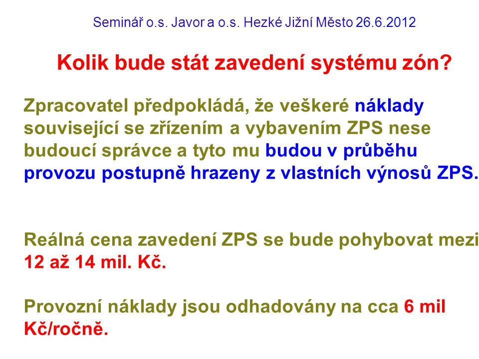 Seminář o.s. Javor a o.s. Hezké Jižní Město 26.6.2012 Kolik bude stát zavedení systému zón? Zpracovatel předpokládá, že veškeré náklady související se