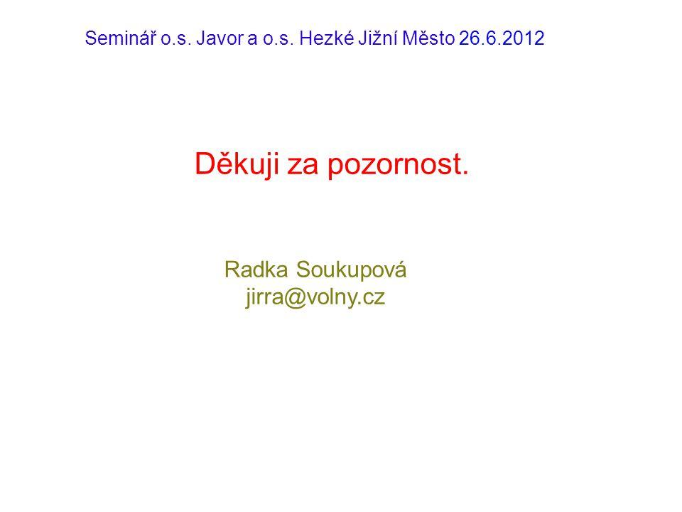 Seminář o.s. Javor a o.s. Hezké Jižní Město 26.6.2012 Děkuji za pozornost. Radka Soukupová jirra@volny.cz