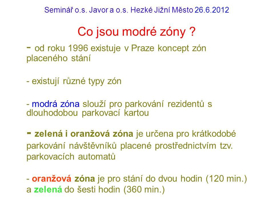 Seminář o.s. Javor a o.s. Hezké Jižní Město 26.6.2012 Co jsou modré zóny ? - od roku 1996 existuje v Praze koncept zón placeného stání - existují různ