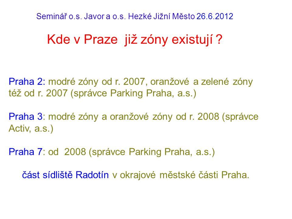 Seminář o.s.Javor a o.s. Hezké Jižní Město 26.6.2012 Kde v Praze již zóny existují .