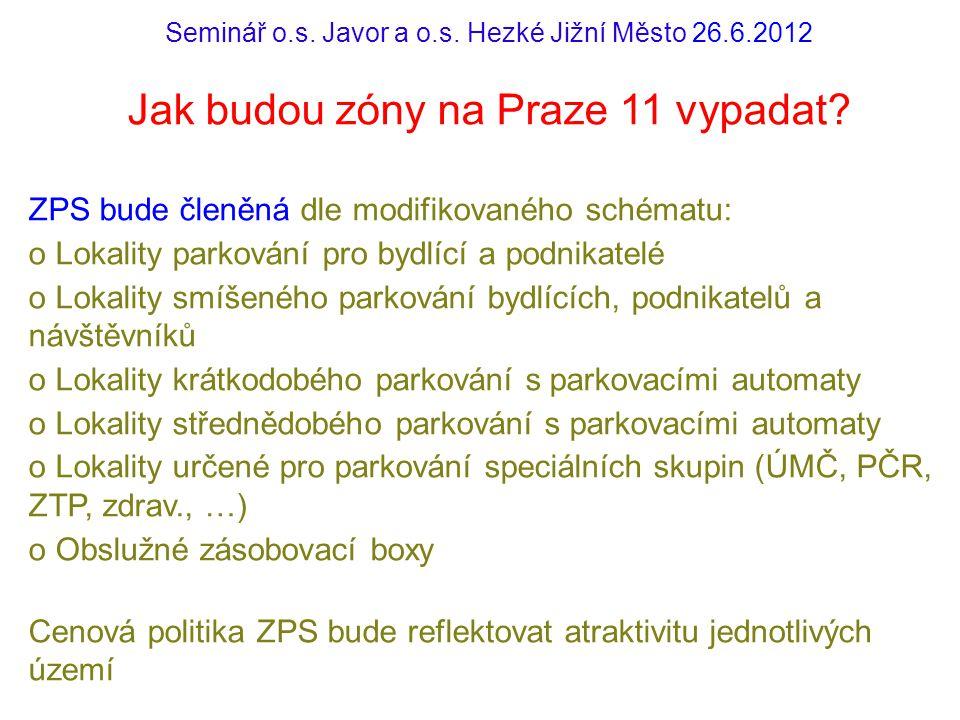 Seminář o.s. Javor a o.s. Hezké Jižní Město 26.6.2012 Jak budou zóny na Praze 11 vypadat? ZPS bude členěná dle modifikovaného schématu: o Lokality par