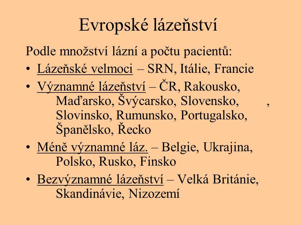 Evropské lázeňství Podle množství lázní a počtu pacientů: •Lázeňské velmoci – SRN, Itálie, Francie •Významné lázeňství – ČR, Rakousko, Maďarsko, Švýca