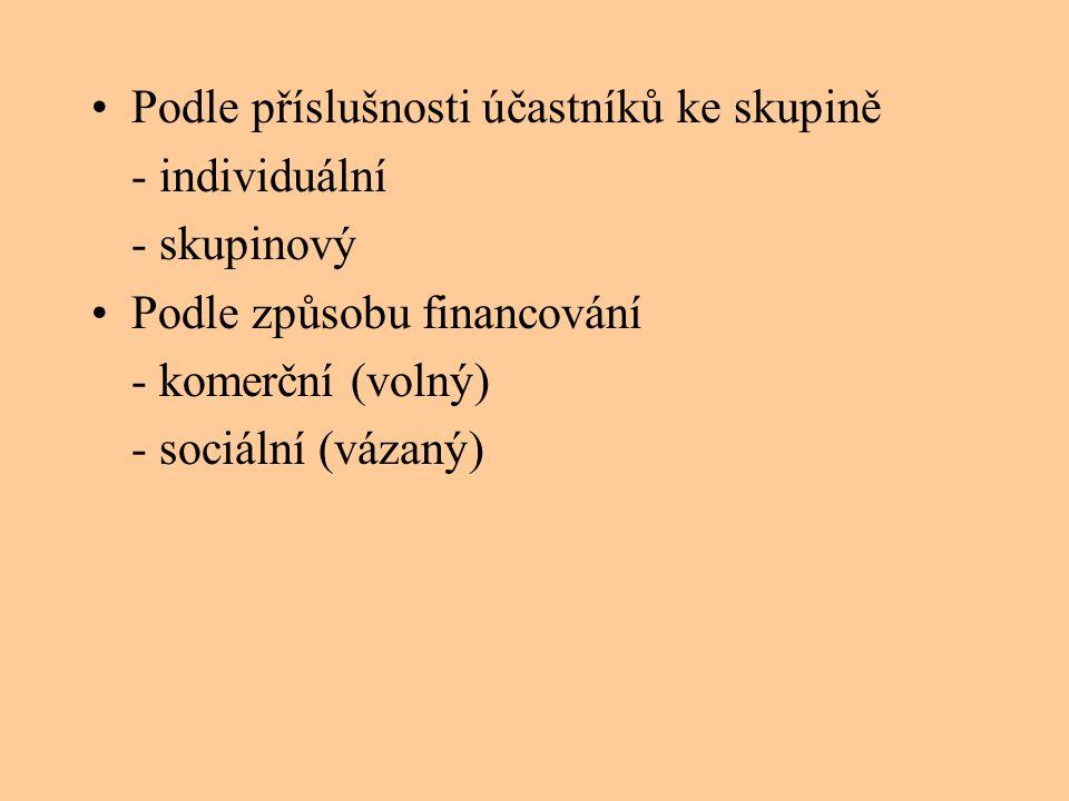 •Podle příslušnosti účastníků ke skupině - individuální - skupinový •Podle způsobu financování - komerční (volný) - sociální (vázaný)