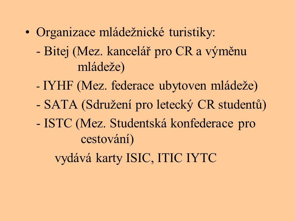 •Organizace mládežnické turistiky: - Bitej (Mez. kancelář pro CR a výměnu mládeže) - IYHF (Mez. federace ubytoven mládeže) - SATA (Sdružení pro leteck