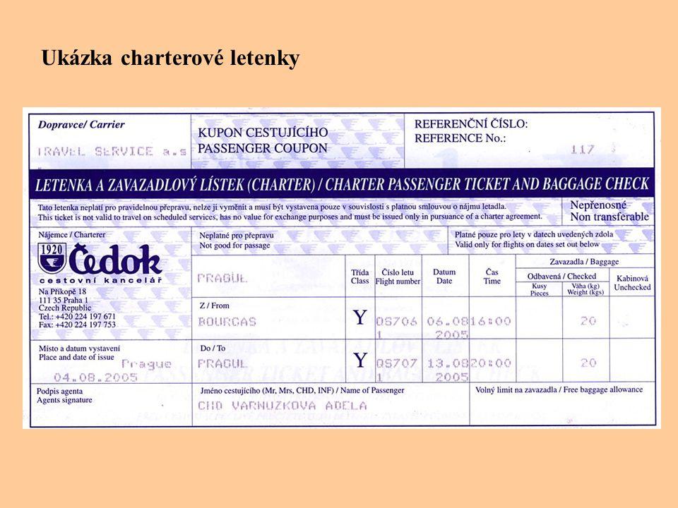 Ukázka charterové letenky