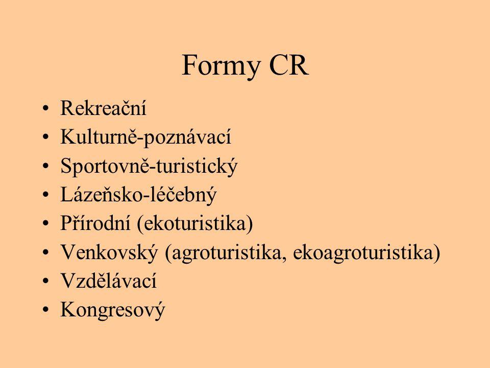 Formy CR •Rekreační •Kulturně-poznávací •Sportovně-turistický •Lázeňsko-léčebný •Přírodní (ekoturistika) •Venkovský (agroturistika, ekoagroturistika)