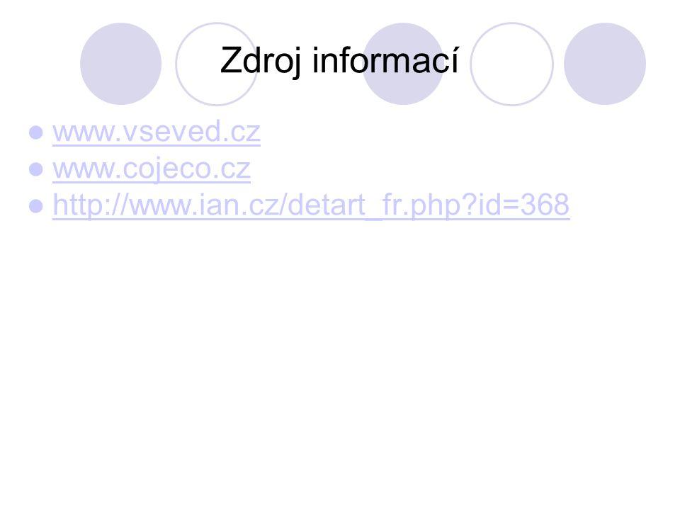 Zdroj informací  www.vseved.cz www.vseved.cz  www.cojeco.cz www.cojeco.cz  http://www.ian.cz/detart_fr.php?id=368 http://www.ian.cz/detart_fr.php?i