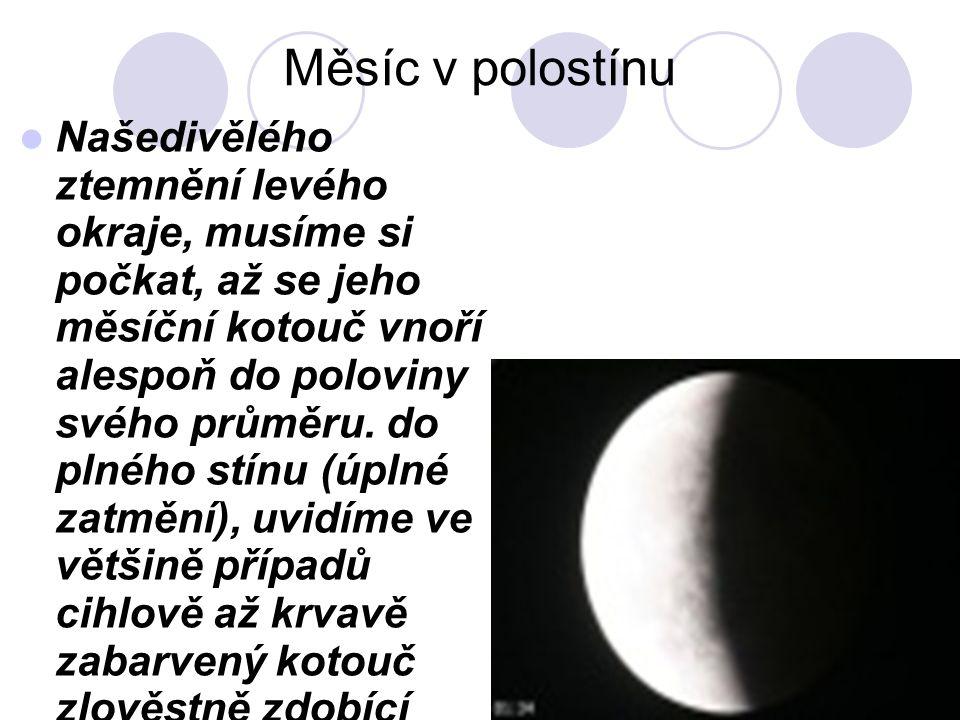 Stín na Měsíci  Prvním předpokladem pro jeho vznik je, aby Slunce, Země i Měsíc Byly na jedné spojnici.