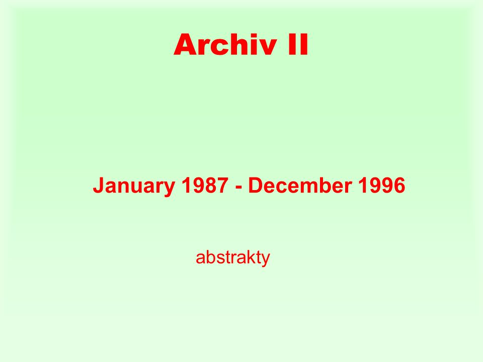 Archiv II January December 1996 abstrakty