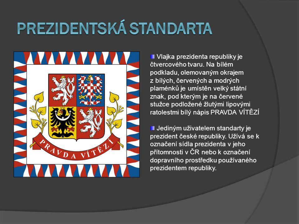 Vlajka prezidenta republiky je čtvercového tvaru. Na bílém podkladu, olemovaným okrajem z bílých, červených a modrých plaménků je umístěn velký státní