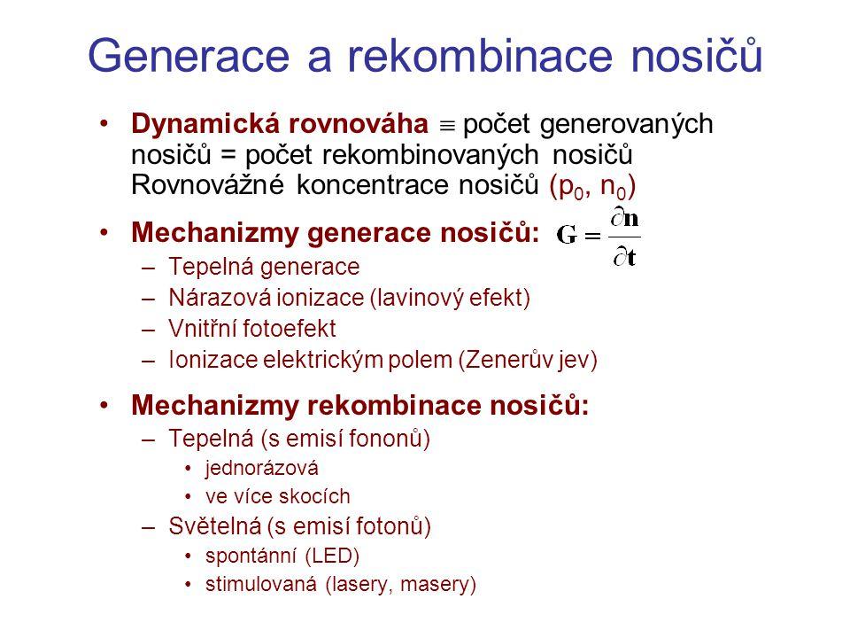 Generace a rekombinace nosičů •Dynamická rovnováha  počet generovaných nosičů = počet rekombinovaných nosičů Rovnovážné koncentrace nosičů (p 0, n 0
