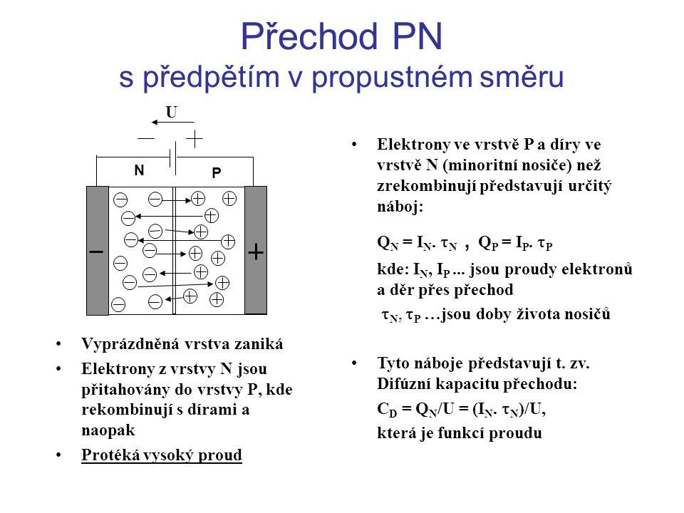 Přechod PN s předpětím v propustném směru U P N •Vyprázdněná vrstva zaniká •Elektrony z vrstvy N jsou přitahovány do vrstvy P, kde rekombinují s díram