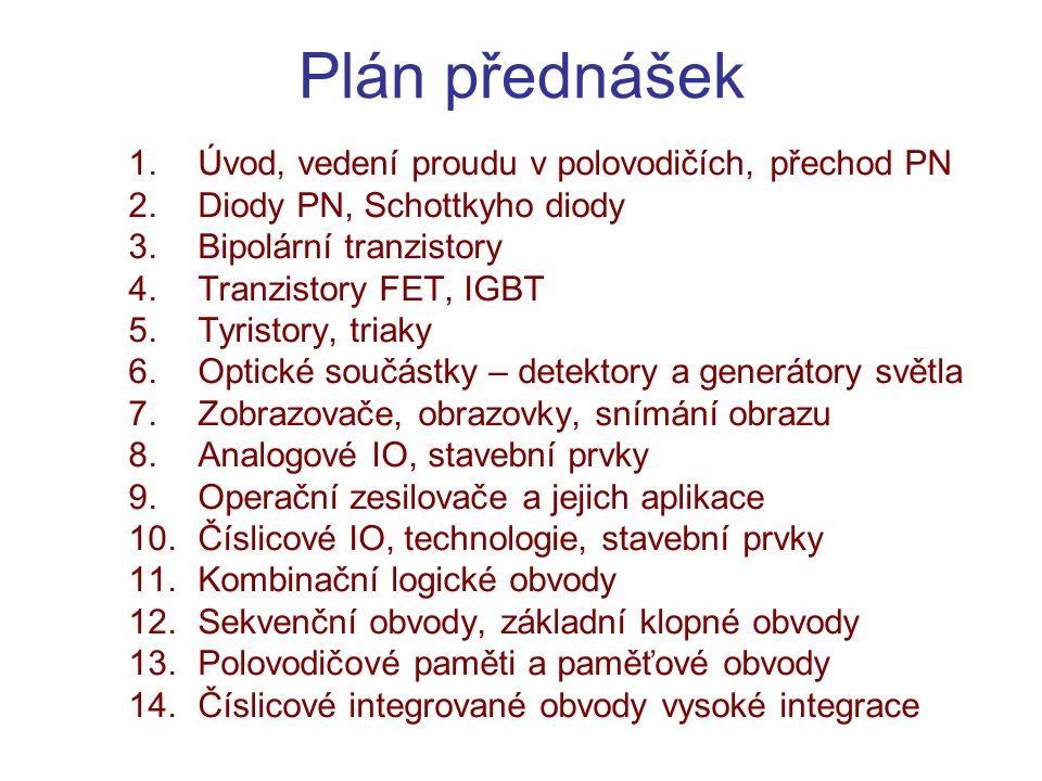 Plán přednášek 1.Úvod, vedení proudu v polovodičích, přechod PN 2.Diody PN, Schottkyho diody 3.Bipolární tranzistory 4.Tranzistory FET, IGBT 5.Tyristo