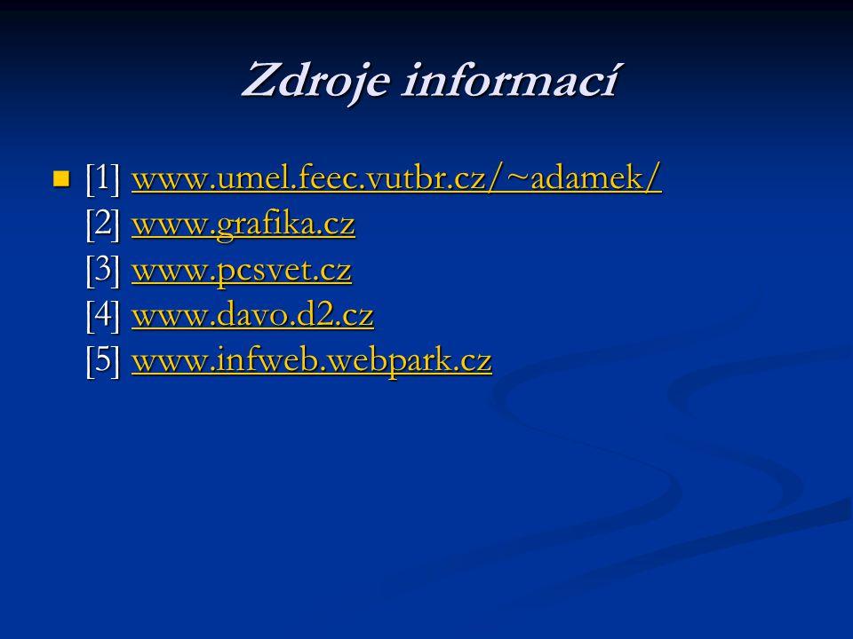 Zdroje informací  [1] www.umel.feec.vutbr.cz/~adamek/ [2] www.grafika.cz [3] www.pcsvet.cz [4] www.davo.d2.cz [5] www.infweb.webpark.cz www.umel.feec.vutbr.cz/~adamek/www.grafika.czwww.pcsvet.czwww.davo.d2.czwww.infweb.webpark.czwww.umel.feec.vutbr.cz/~adamek/www.grafika.czwww.pcsvet.czwww.davo.d2.czwww.infweb.webpark.cz