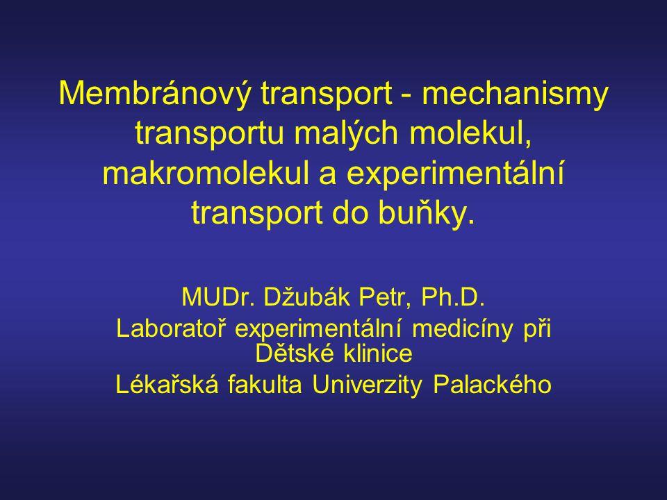 Membránový transport - mechanismy transportu malých molekul, makromolekul a experimentální transport do buňky. MUDr. Džubák Petr, Ph.D. Laboratoř expe