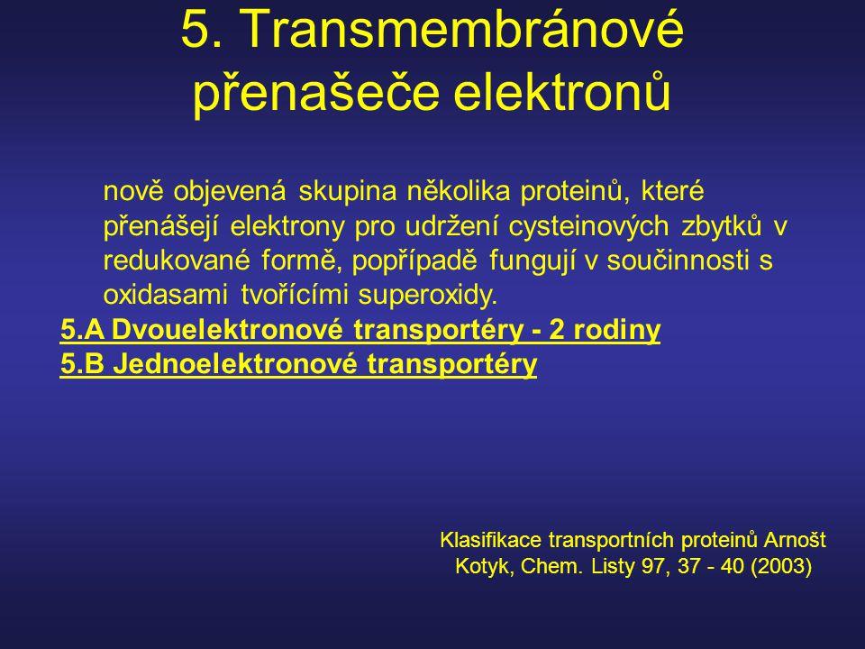5. Transmembránové přenašeče elektronů nově objevená skupina několika proteinů, které přenášejí elektrony pro udržení cysteinových zbytků v redukované