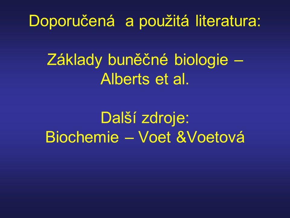 Doporučená a použitá literatura: Základy buněčné biologie – Alberts et al. Další zdroje: Biochemie – Voet &Voetová