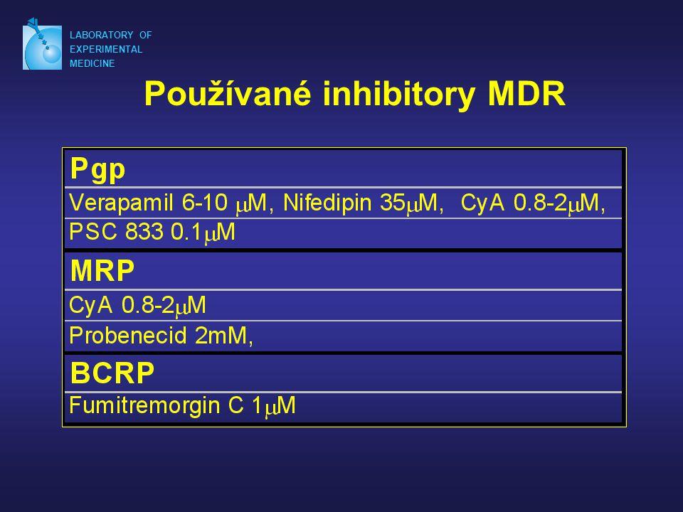 LABORATORY OF EXPERIMENTAL MEDICINE Používané inhibitory MDR